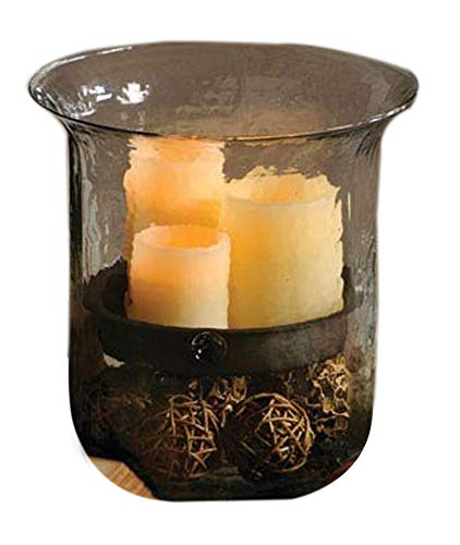 Kalalou Giant Glass Candle Cylinder w/ Metal Insert (Large Holder Candle)