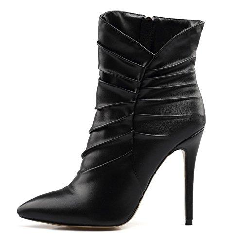 High Größe Frauen Komfortable Booties Geschlossen Heels Party Spitz 34 Zehe Winter PU Elobaby 46 q6wf1xO5O