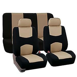 FH-FB050112 Flat Cloth Car Seat Covers Beige Color