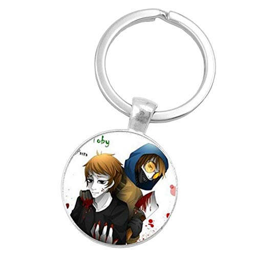 CHITOP Sugar Skull Creepypasta Creepy Pasta Ticci Toby Glass Keychain Jeff The Killer Gift -Nightmare Before Christmas (Silver) (1 (8))