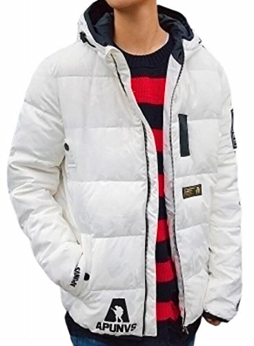 Winter Mens Thicken Hooded TTYLLMAO Long White Sleeve Long Warm Down Jacket wpIqdq