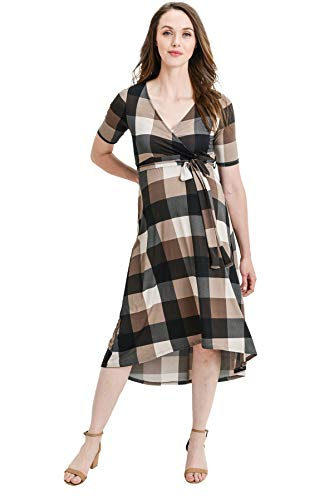 Hello MIZ Women's Floral High-Low Surplice Wrap Nursing and Maternity Dress (Brown Plaid, XL)