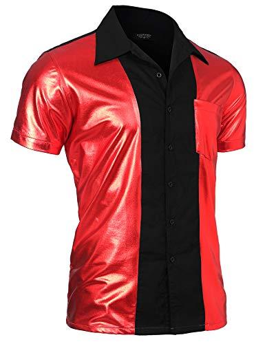 Halloween Party Nightclub (COOFANDY Mens Disco Shirt Costume Short Sleeve Shiny Metallic Nightclub Fashion Party Shirt Button Down Bowling)