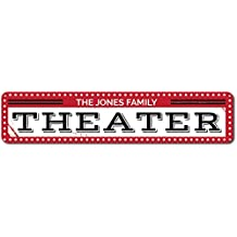 """Theater Sign, Personalized Family Name Sign, Man Cave Sign, Custom Movie Theater Decor, Metal Basement Sign - Quality Aluminum ENSA1001411 - 6""""x24"""" Quality Aluminum Sign"""