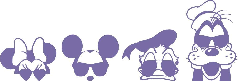"""Mickey Mouse & Friends Silhouette Wall Art Design Decor Vinyl Decal is a Mickey Minnie Mouse Donald Duck & Goofy Roommate Wall Mural Graphic Decal. Disney Decal-22"""" x 7.50""""-Purple"""