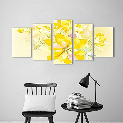 Abstract Orchid - 5 Pieces Modern Wall Art Decor Frameless Romantic White Yellow Flowers Leaves Orchids with Abstract Backdrop Image Multicolor for Home Print Decor for Living Room