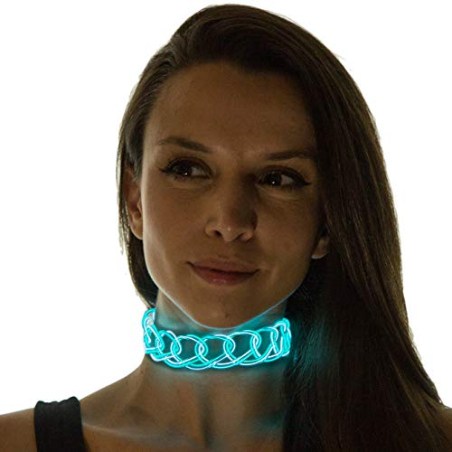 Neon Nightlife Women's Light Up Choker, One Size, White & Aqua]()