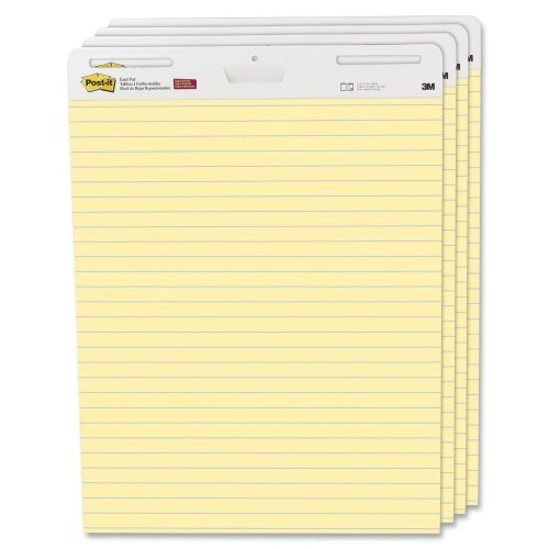 Wholesale CASE of 2 - 3M Post-it Faint Rule Easel Pad-Easel Pad,Self-stick,Lined,30 Sheets,25''x30'',4/CT,Yellow