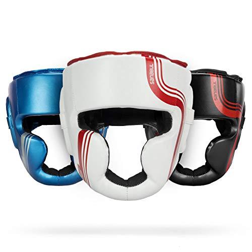 Sanabul Core Series Boxing MMA Kickboxing Head Gear (White/Red, L/XL)