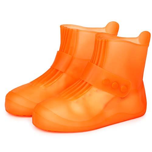 Pastaza Waterproof Shoes Covers for Womens Mens Non Slip Durable Short Rain Boots Kids Outdoor Booties Orange