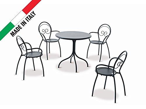 Set Tisch D.80 mit 4 Stühle mit Armlehnen stapelbar Metall anthrazit ...