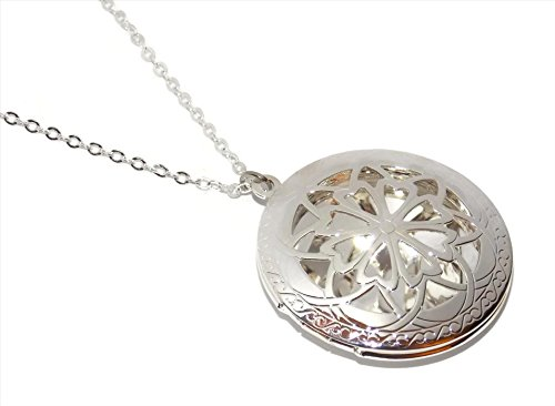Ornate Photo Locket Necklace - 18 Inch Chain Bright Shiny Silver Tone (Ornate Locket)