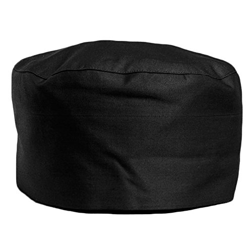 My Chef Hat | Pro 7.1 Inch Black Soft Satin Skull Cap with Expandable Elastic Back | Vent Beanie for Chef, Cooks, Baker & Catering School Colleges | 1308.2