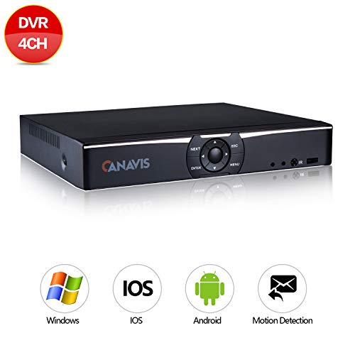 (CANAVIS ❤️ 4CH 1080N Hybrid 5-in-1 AHD DVR (1080P NVR+1080N AHD+960H Analog+TVI+CVI) Standalone DVR CCTV Surveillance Security System Video Recorder No HDD,Cameras Not Included(Silver))