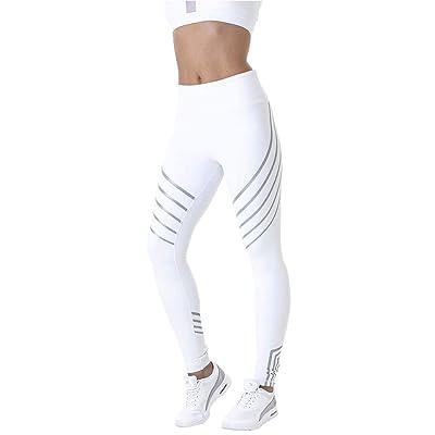 Mallas para Mujer Leggings para Ejercicios al Aire Libre Pantalones de Yoga Deportivos de Cintura Alta, Blanco, S: Ropa y accesorios