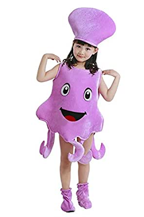 Kids Octopus costumes Performance show halloween Cosplay Headwear Top Dress 140cm