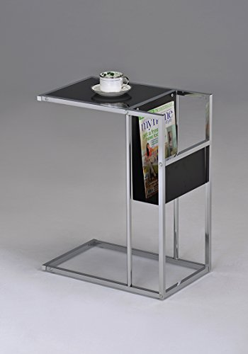Magazine Rack Side Table - Kings Brand Printed Glass & Chrome Accent Snack Table with Magazine Rack (Black)