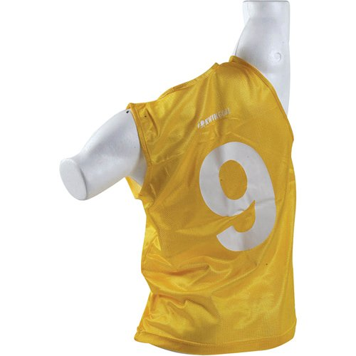 Micro Mesh Team Vest Numbered - Kwik Goal Numbered Vest (Yellow, Adult),18 count