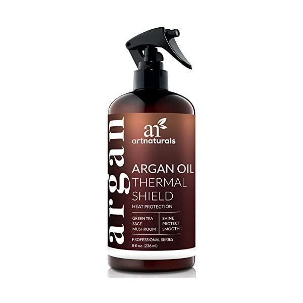 ArtNaturals Thermal Hair Protector Spray – (8 Fl Oz / 236ml) – Heat Protectant Spray against Flat Iron Heat – Argan Oil Preventing Damage, Breakage and Split Ends – Sulfate Free