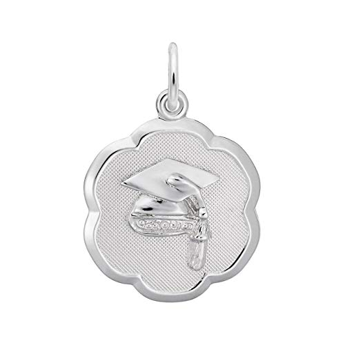 Rembrandt Charms Sterling Silver Graduation Cap Scalloped Disc Charm