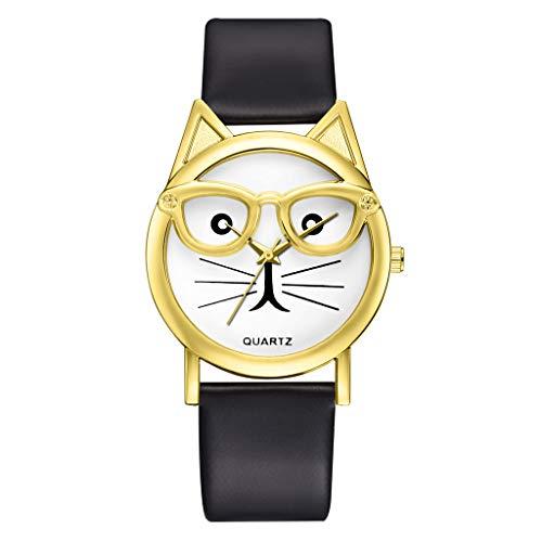 (Sodoop Watches for Women, Fashion Luxury Quartz Watch, Simple Cute Sweet Cat Dial Casual Thin Leather Belt Bracelet Set Woman's Watch)