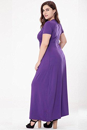 Color De Las Verano amp; Puro Vestido Corta Del Cintura XIAOLI Del Cuello Xxl De Del Largo Purple V Mujeres La q4RtnPB