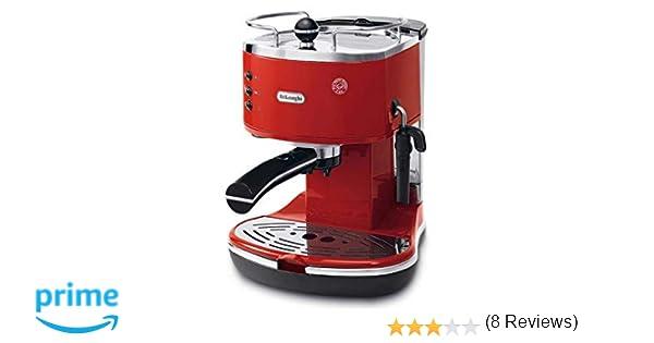 DeLonghi ECO 311 Cafetera automática independiente, 1100 W, 1.4 L, 15 bares, 2 tazas, acero inoxidable, rojo