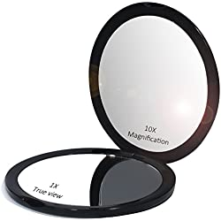 Makeup Pocket Mirror with 10x Magnification Glass Plus Plain Mirror (Black)