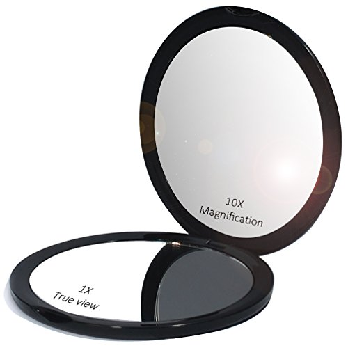 Makeup Pocket Mirror with 10x Magnification Glass Plus Plain Mirror Black