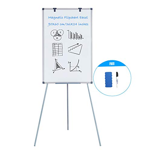 MAKELLO Flip Chart Easel Magnetic Tripod Whiteboard Dry Erase Board with Stand, Movable Hooks, Adjustable Height, 36X24 inches