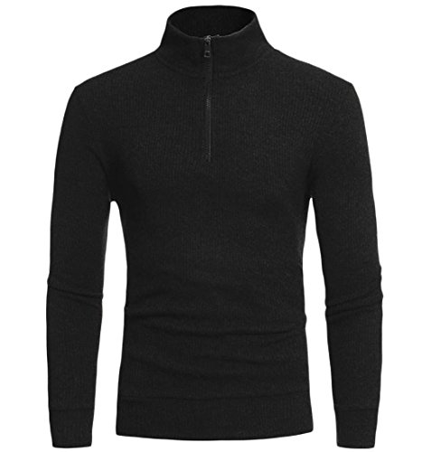 Zimaes Men's Classic Full Zip Turtleneck Solid Knitting Tunic Top Black M