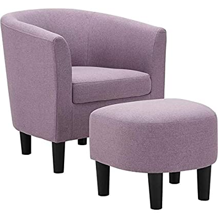 Magnificent Lilola Parkins Plum Linen Accent Chair With Ottoman Gamerscity Chair Design For Home Gamerscityorg