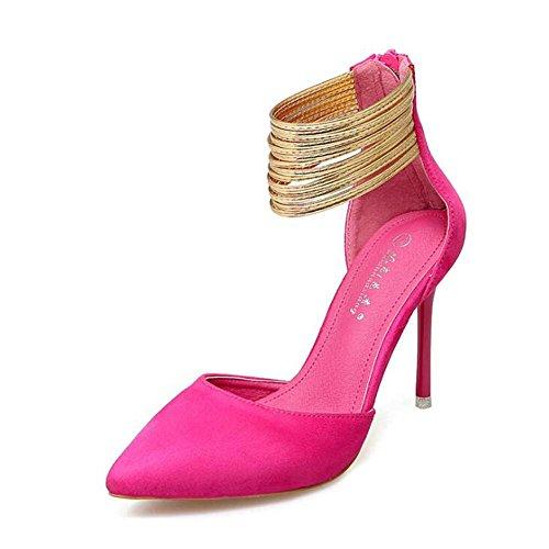 L@YC Mujeres Tacones Altos Verano y otoño Palabra Hebilla Punta Fina Con Sandalias Pink