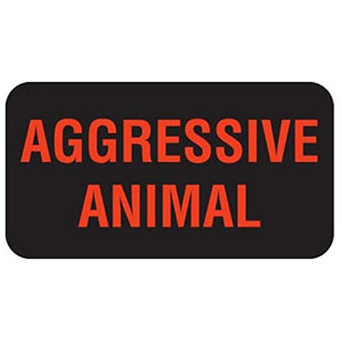 Aggressive Animal 1-5/8'' x 7/8'' Black Fl-Red Print Label (Roll of 560)