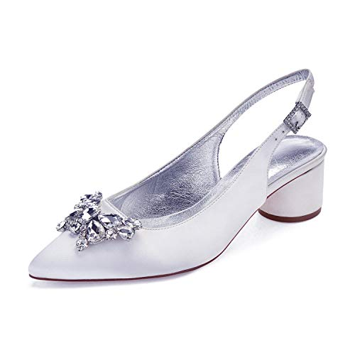 MarHermoso Womens Satin Pointed Toe Slingback Butterfly Rhinstones Dressing Pumps White