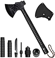 LIANTRAL Survival Camping Axe, Folding Tactical Axe Hatchet with Hammer, Nylon Sheath for Outdoor Adventures,