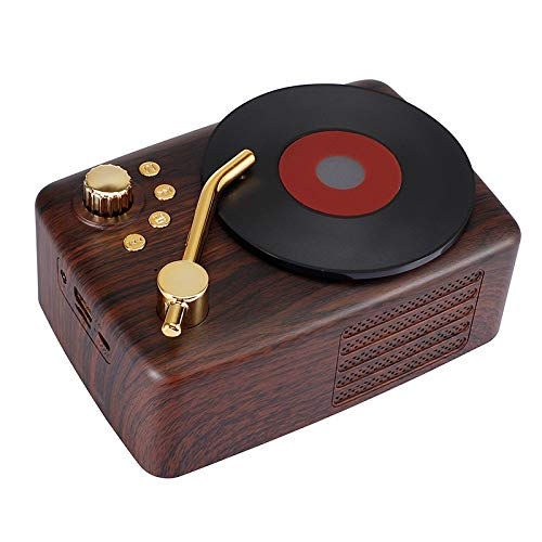 OWOK 2020 Record Player Bluetooth Audio,New Portable Retro Wireless Bluetooth Speaker, Creative Lovely Gift Gramophone Mini Bluetooth Audio (Color : Red)