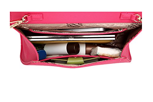 Crafeel Clutch Mujer Cuero Bolsos Bandolera Rose Red