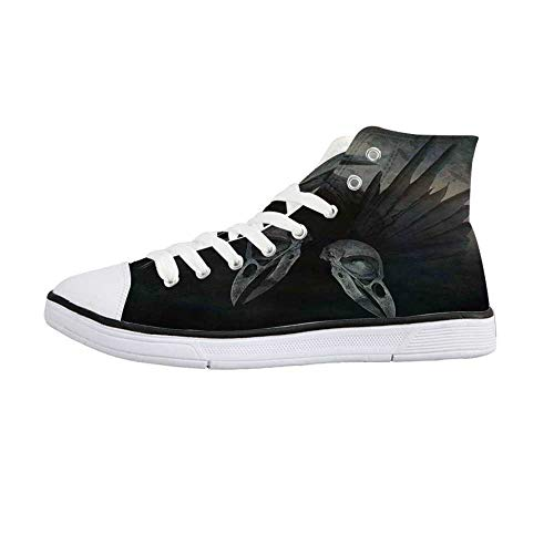 Gothic Decor Stylish High Top Canvas Shoes,Crow Spirit Wings Haunting Magic Mysticism Dark Shadowy Occult Art Print Decorative for Men & Boys,US 8