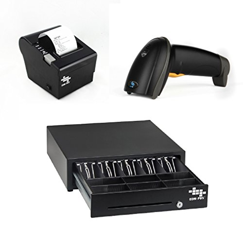 EOM-POS Heavy Duty Cash Register Drawer + Thermal Receipt Printer (80mm) + Barcode Scanner (Corded) [Black] NOT COMPATIBLE WITH SQUARE OR CLOVER