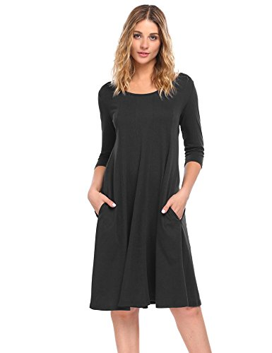 HOTOUCH Women's Autumn Casual 3/4 Sleeve Loose Midi Flare Long Dresses (Black, S)