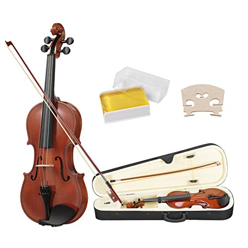 LAGRIMA 4/4 Acoustic Violin, Solid Wood Handcrafted Violin with Hard Case, Bow, Rosin for Beginner Full Size by LAGRIMA