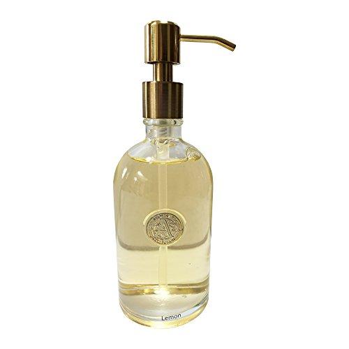 (Hand Soap by Aroma Aria   Lemon   Luxurious Decorative Refillable Glass Bottle   12 fl.oz.)