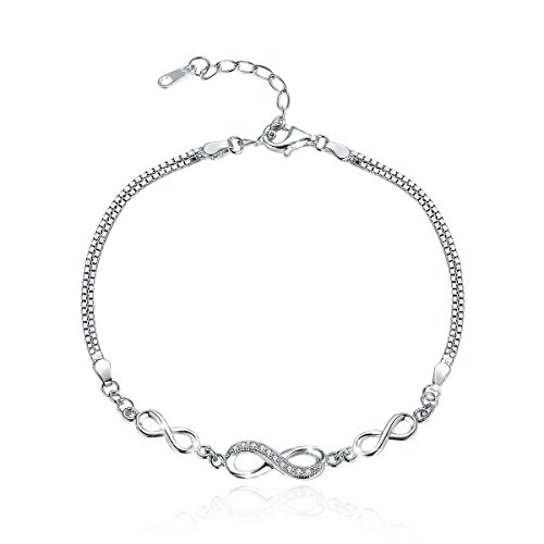 BAMOER 925 Sterling Silver Infinity Bracelet Adjustable Chain Bracelets for Women Girls for Her