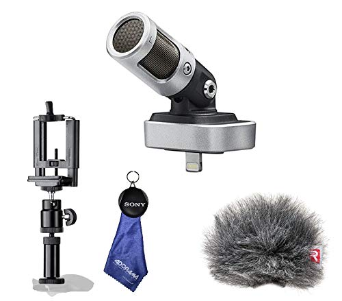 Shure MOTIV MV88 Digital Stereo Condenser Microphone for iOS, Windjammer, Smartphone Tripod Adapter Cell Phone Holder Mount