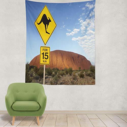 Sign Road Kangaroo (ASOCO Tapestry Wall Hanging Kangaroo Road Sign Rock Northern Territory Australia World Heritage Wall Tapestry for Bedroom Living Room Tablecloth Dorm 60
