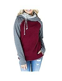 Qixuan Women's Long Sleeve Hoodie Zipper Double Hooded Sweatshirt