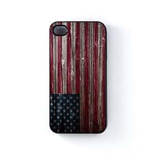 United States Flag on Vintage Wood - USA Flag - American Flag - US Flag - Flag of United States of America Carcasa Protectora Snap-On en Plastico Negro para Apple® iPhone 4 / 4s de UltraFlags + Se incluye un protector de pantalla transparente GRATIS