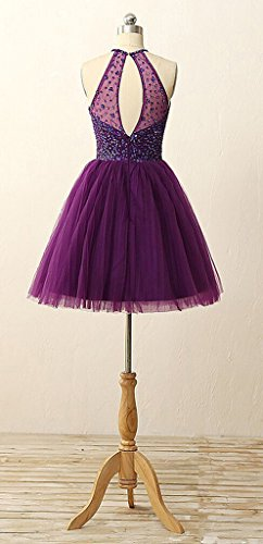 Women's Dearta Purple Mini Short Dresses Line Homecoming Neck Halter Sequins A Beadings dPfqrHwP
