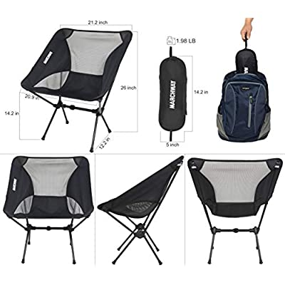 MARCHWAY Ultralight Folding Camping Chair, Portable Compact for Outdoor Camp, Travel, Beach, Picnic, Festival, Hiking, Lightweight Backpacking (Black) : Sports & Outdoors